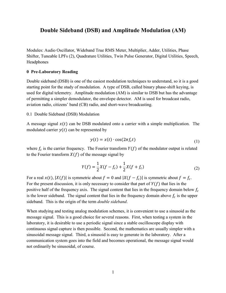 Double Sideband (DSB) and Amplitude Modulation (AM)