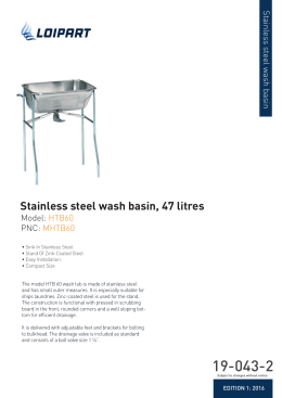 Stainless steel wash basin, 47 litres