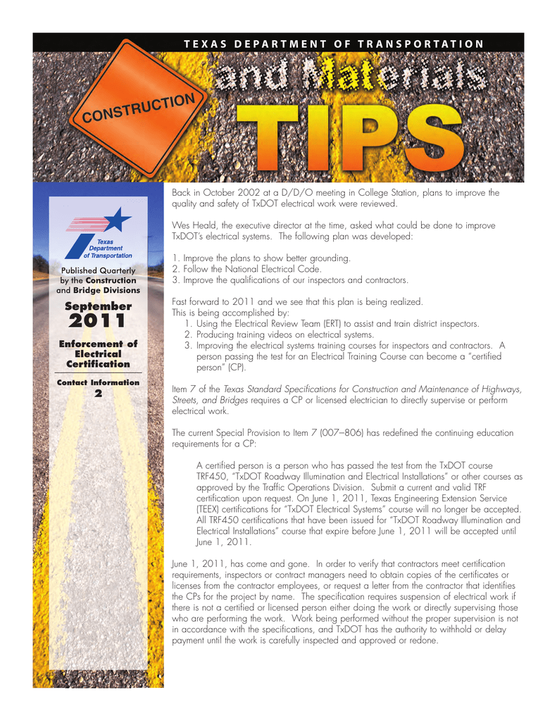 september texas department of transportation Electrical Security Plan