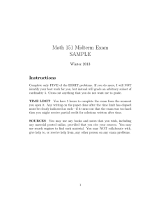 Math 151 Midterm Exam SAMPLE