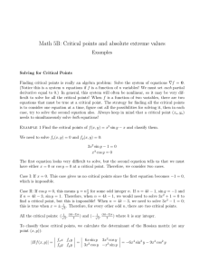Math 5B: Critical points and absolute extreme values