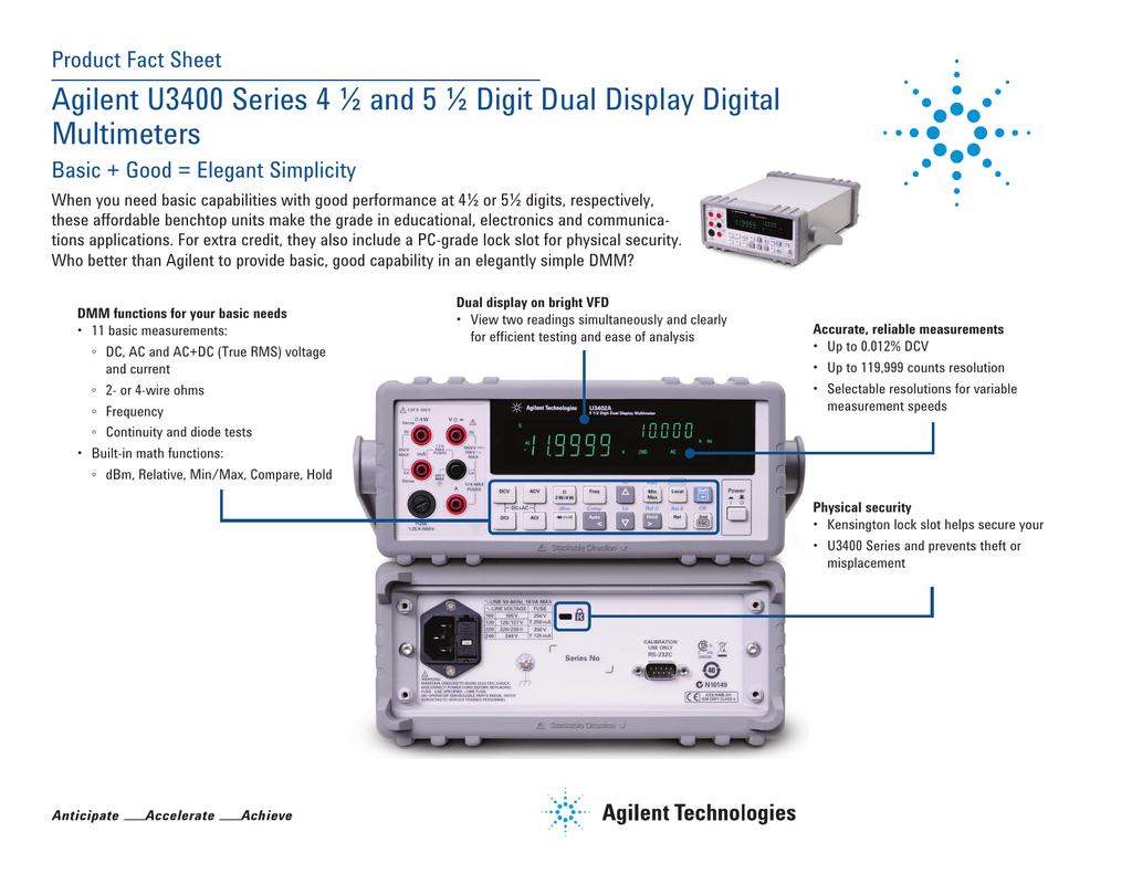 Agilent U3400 Series 4 ½ and 5 ½ Digit Dual Display Digital