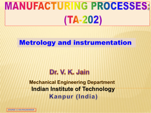 Lecture 4-Metrology - IITK - Indian Institute of Technology Kanpur