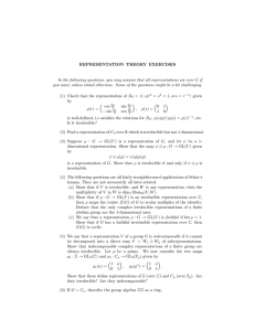 REPRESENTATION THEORY EXERCISES In the following