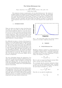 The Stefan-Boltzmann Law - Wooster Physics
