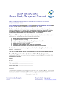{Insert company name} Sample Quality Management Statement