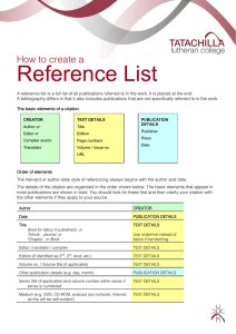 Research Project Reference List