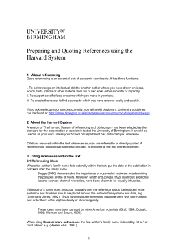 an overview of the university library and the guide to the harvard style of referencing This guide is based on the harvard or author - date style presented in : style manual for authors, editors and printers 2002, 6th edn, agps, canberra, act getting started with harvard referencing.