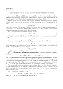 Solving First Order Linear Constant Coefficient Equations