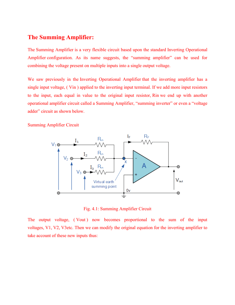 Inverting Summing Amplifier Operational Applications Wikipedia 791x1024