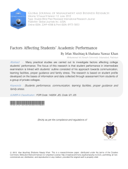 Factors Affecting Students` Academic Performance
