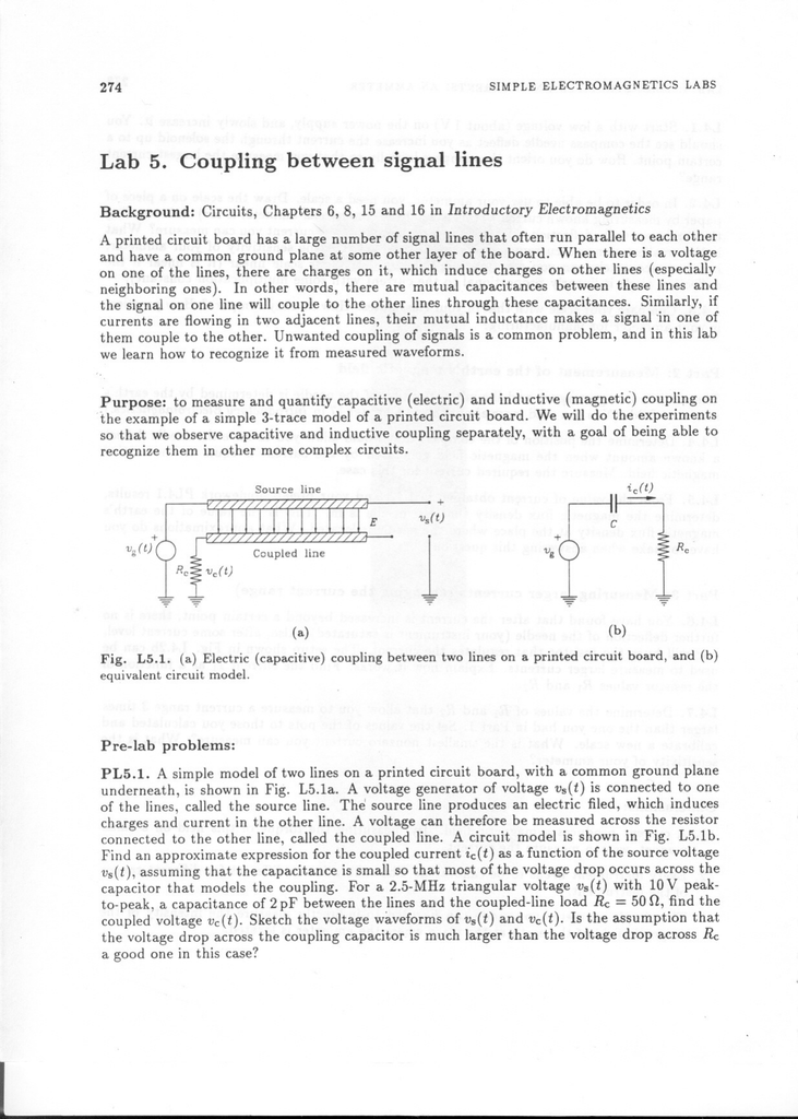 Lab 5  Coupling between signal lines