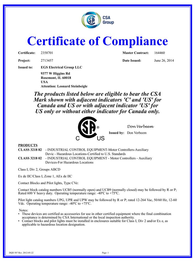 Unicode 2 CSA Certificate of Compliance 2358701