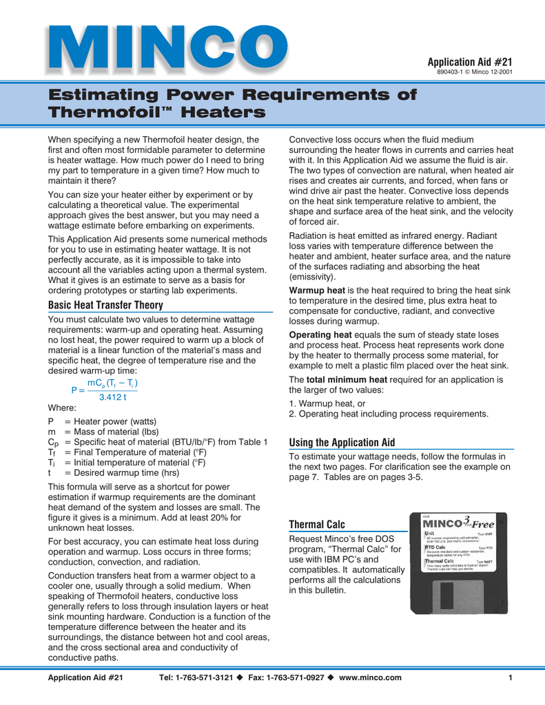 Estimating Power Requirements of Thermofoil™ Heaters