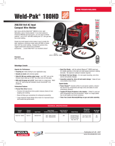 Wire Feeder Welder: Weld-Pak 180HD