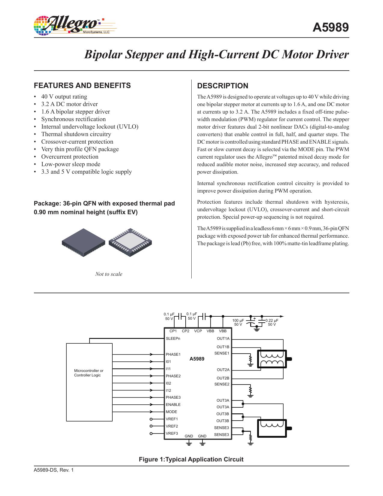 A5989 Datasheet Allegro Microsystems Bipolar Stepper Motor Drive Circuitdb