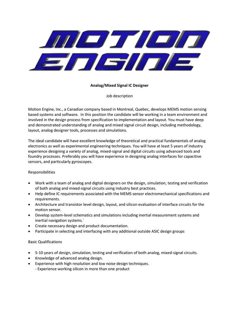 Analog Mixed Signal Ic Designer Job Description Motion Engine Inc