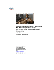 Hardware and System Software Specification (Bill of Materials)