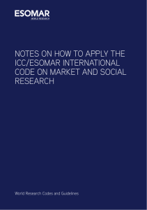 Notes On How To Apply ICC/ESOMAR Code