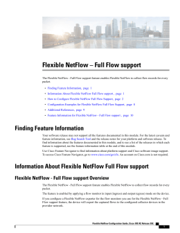 Flexible NetFlow – Full Flow support