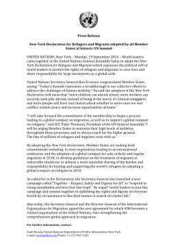 Press Release New York Declaration for Refugees and Migrants
