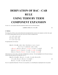DERIVATION OF BAC - CAB RULE USING TERM BY TERM