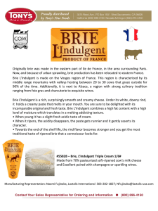 Originally brie was made in the eastern part of Ile de France, in the