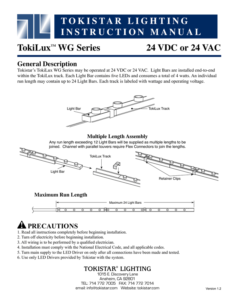 Tokistar Lighting Instruction Manual Tokiluxtm Wg Wiring Leds In Parallel And Series