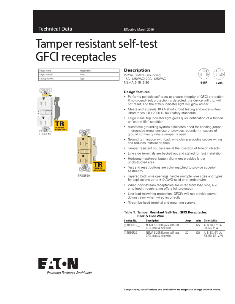Tamper Resistant Self Test Gfci Receptacles