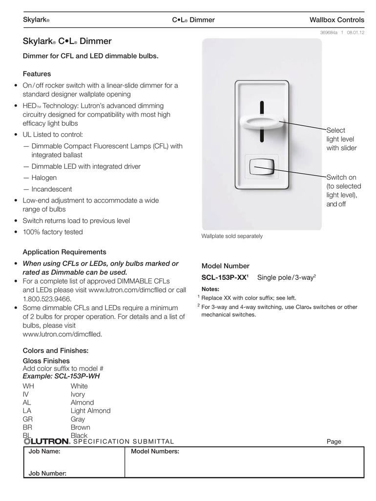 Lutron Skylark Scl 153p Wh Spec Sheet Polar Dimmable Electronic Ballast Circuit Dimming Feature Included