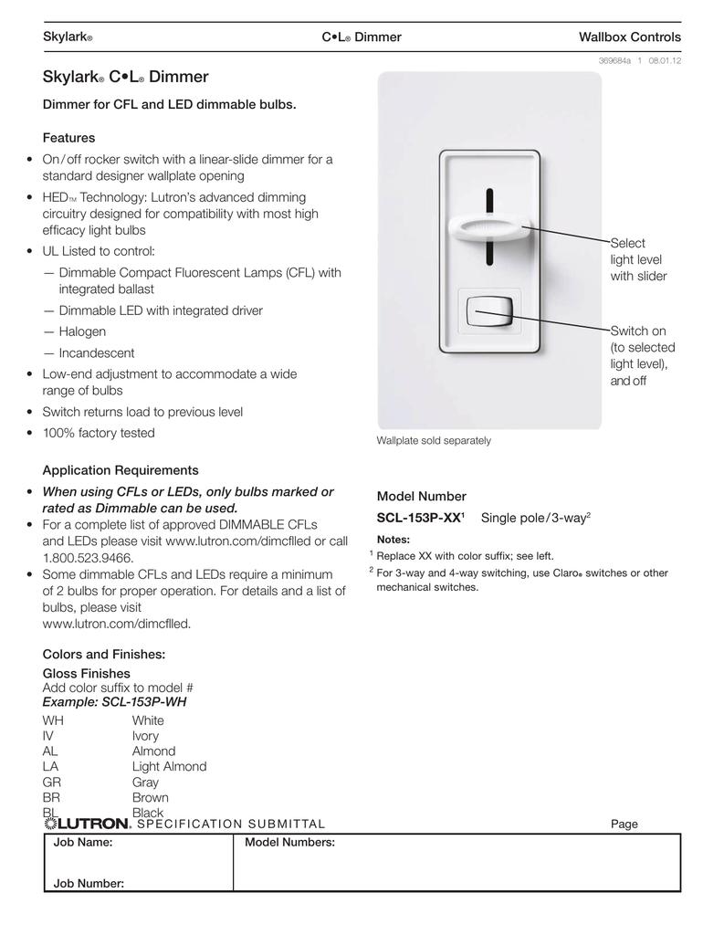 Lutron Skylark Scl 153p Wh Spec Sheet Polar 3 Way Switch End Of Line