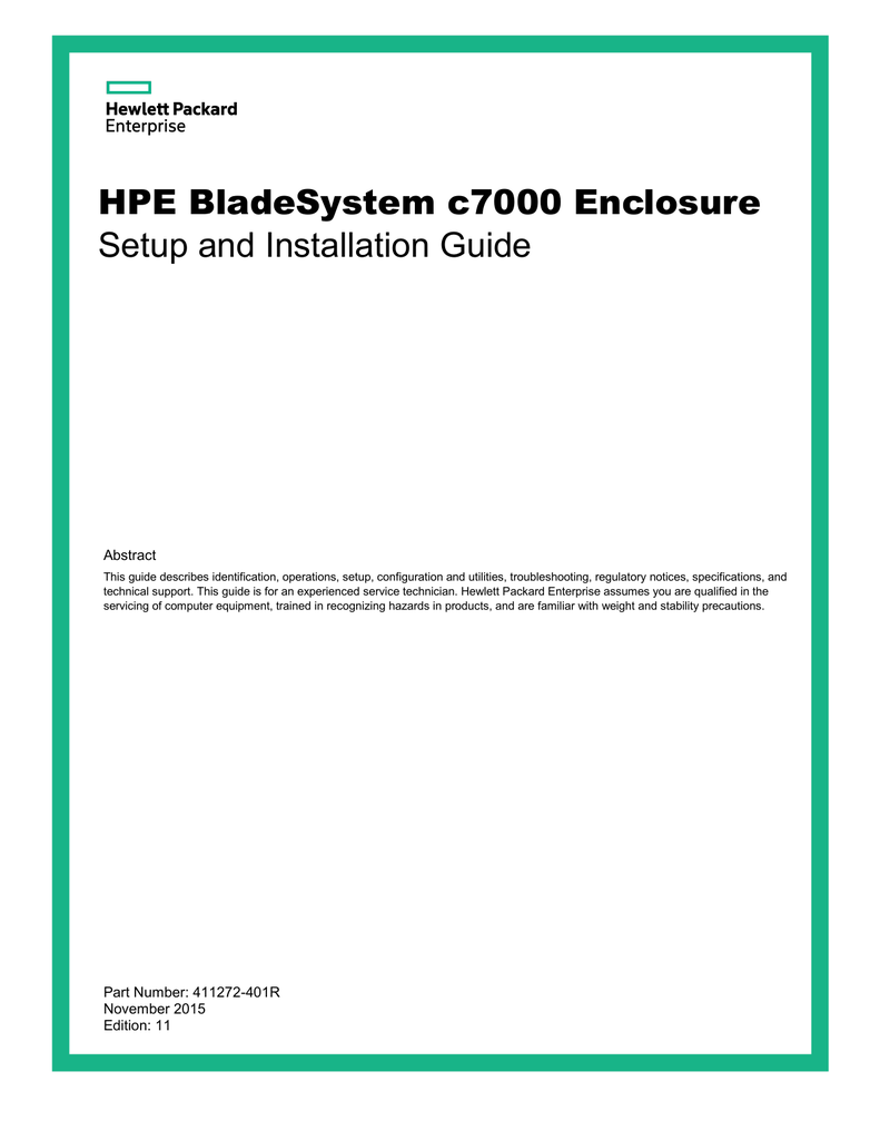 HPE BladeSystem c7000 Enclosure Setup and Installation Guide