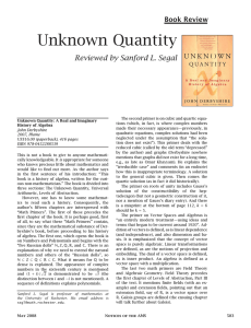 Unknown Quantity - American Mathematical Society