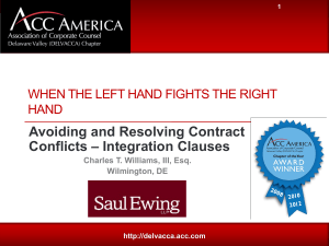 Avoiding and Resolving Contract Conflicts – Integration Clauses