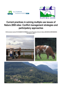 Current practices in solving multiple use issues of Natura 2000 sites