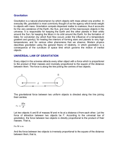 Gravitation UNIVERSAL LAW OF GRAVITATION