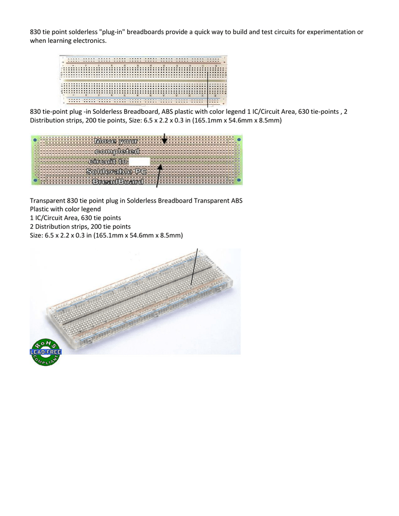 Data Sheet Current Transparent Solderless Breadboard Showing The Metal Strips For Tie
