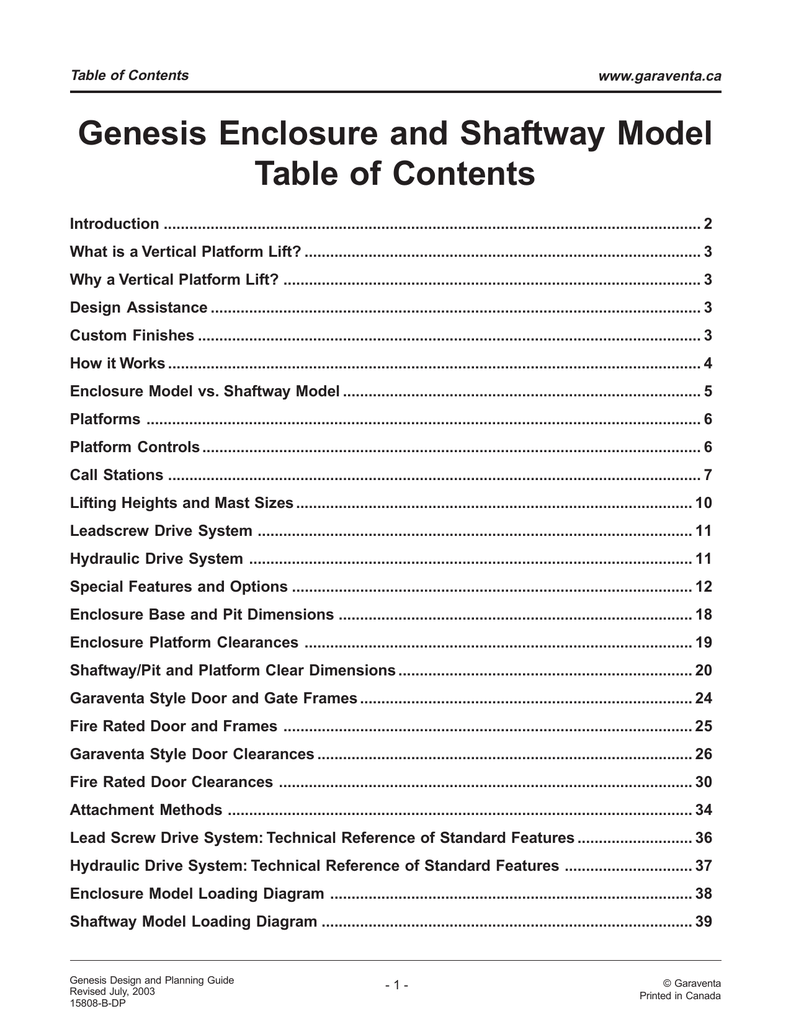 Genesis Enclosure Model Design and Planning Guide on