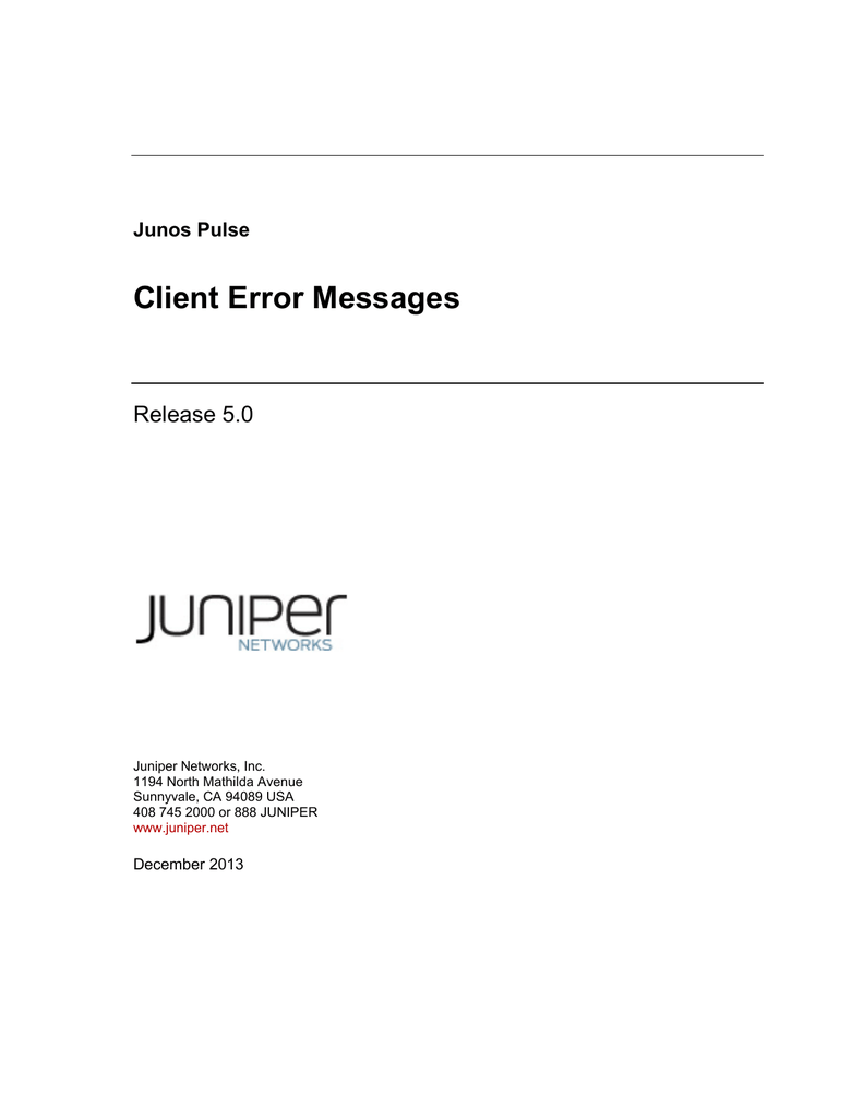 Junos Pulse Client Error Messages