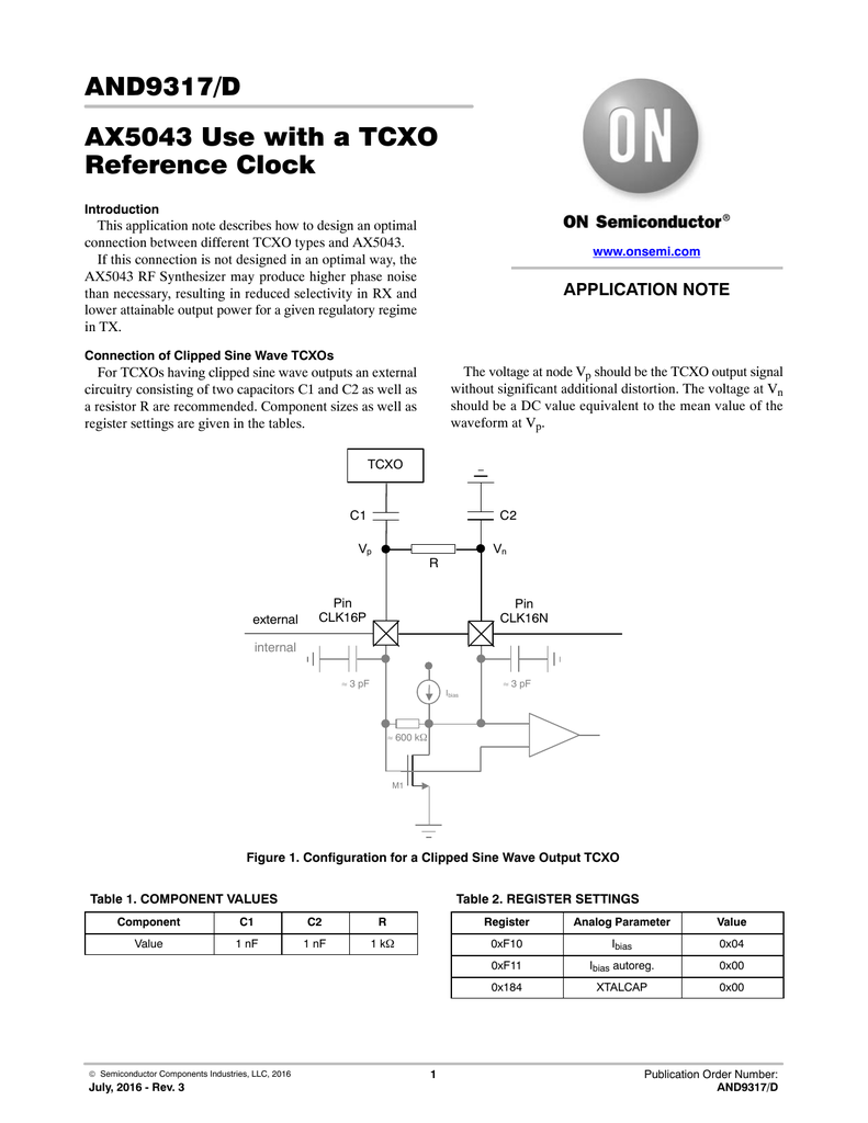 Ax5043 Use With A Tcxo Reference Clock Sinewave Parameters Diagram 018114431 1 Bf8c054b61c11578b6dddfa11e373094