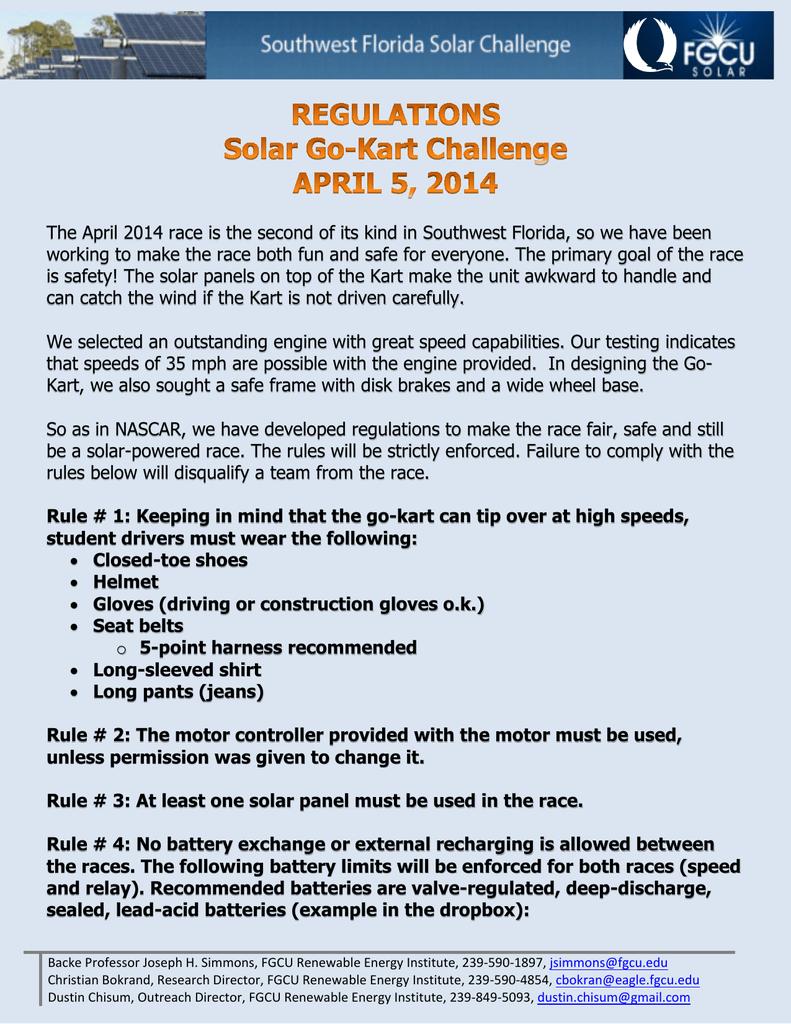 Solar Go Kart Regulations 2014 031814 Basic Rules For Relay Race
