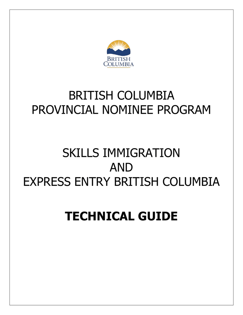 Bc pnp skills immigration and express entry bc technical guide spiritdancerdesigns