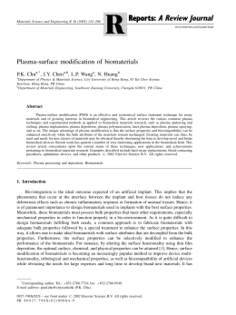 Plasma-surface modification of biomaterials