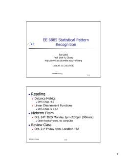 EE 6885 Statistical Pattern Recognition Reading