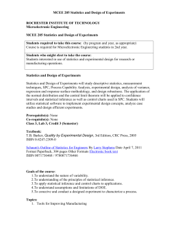 MCEE 205 Statistics and Design of Experiments - RIT