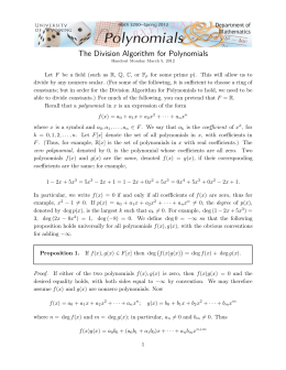 The Division Algorithm for Polynomials