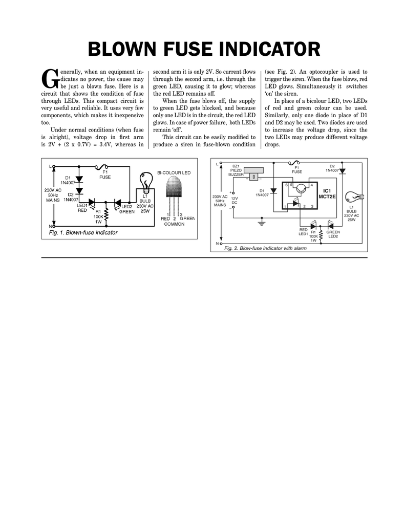 Sensational Blown Fuse Indicator Wiring Digital Resources Lavecompassionincorg