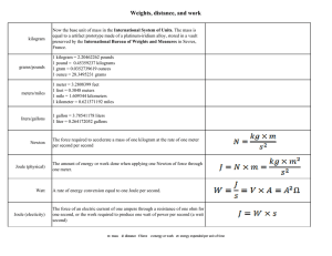 Weight, Distance and Work