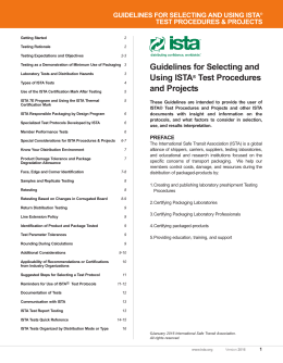 Guidelines for Selecting and Using ISTA® Test Procedures and