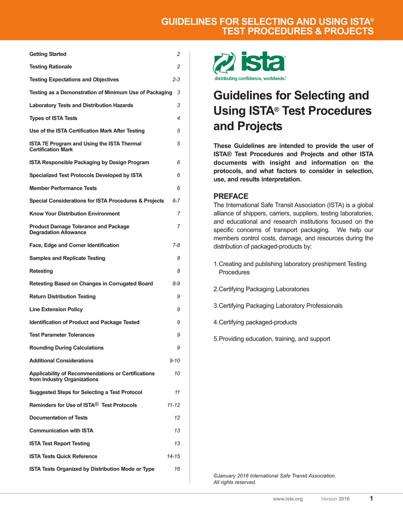Guidelines For Selecting And Using Ista Test Procedures And